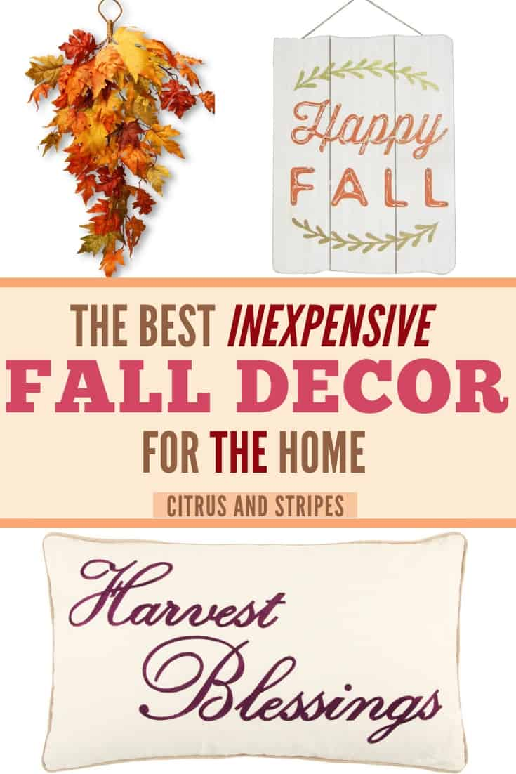 Inexpensive fall decor for those of us on a budget! You don't have to spend a fortune to decorate for fall this year. This list of fall decorations on a budget will give you fantastic ideas for your own home! #falldecor #fall #budget