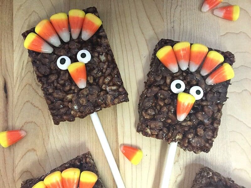 Chocolate rices krispy turkey thanksgiving crafts