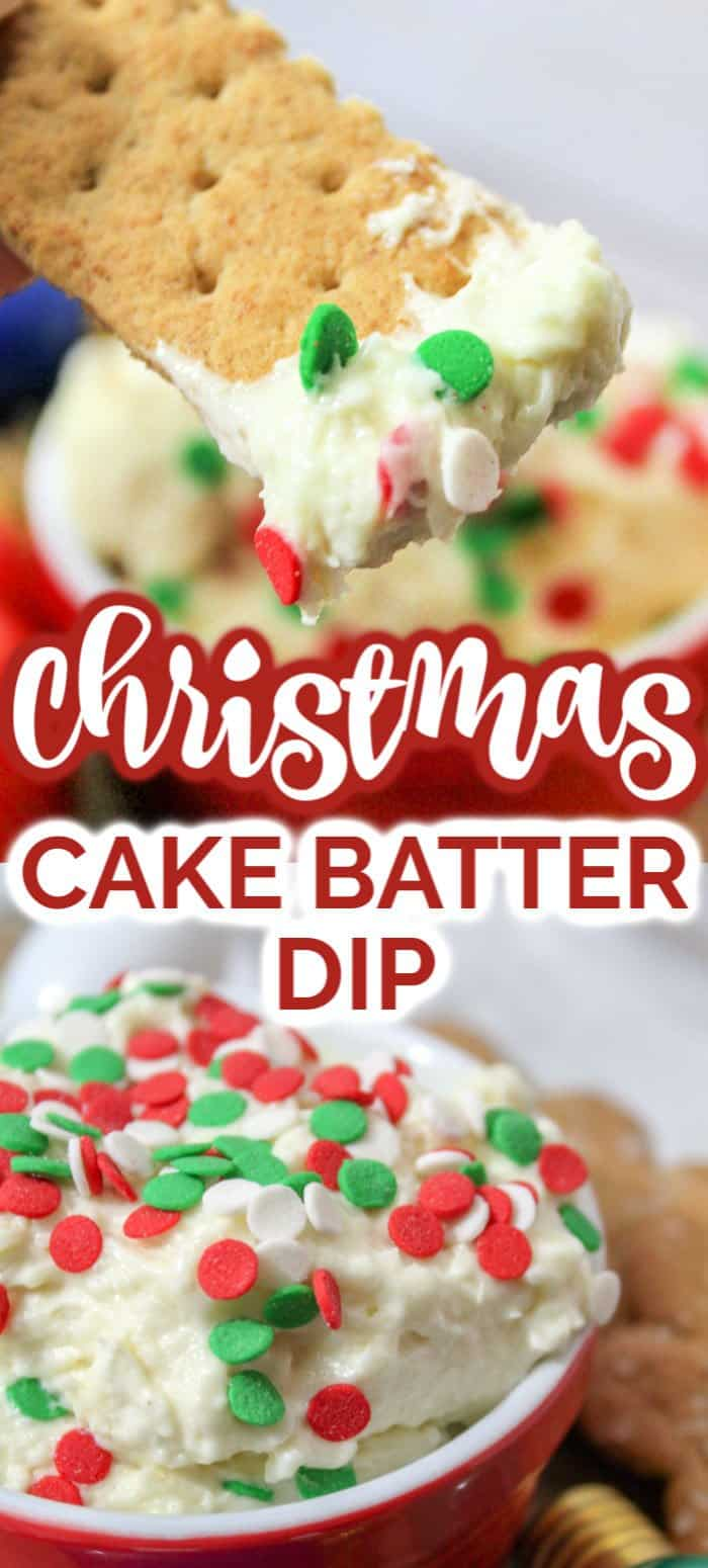 This simple Christmas Cake Batter Dip is the perfect no bake dessert! It tastes exactly like cake batter while being safe to eat. Both kids and adults alike will love this Christmas Cake Batter treat! #desserts #christmasdesserts #recipes #eastydessert #dessertdip #cakebatterdip