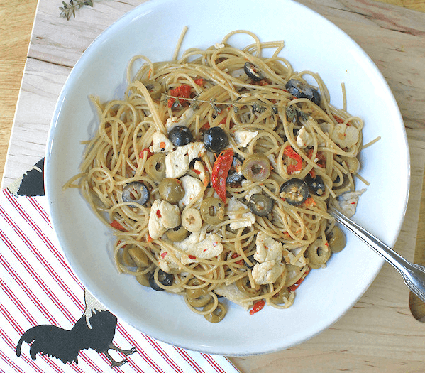Chicken and Olive Spaghetti