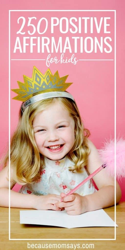 Positive affirmations for kids smiling girl
