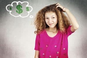 Kid scratching her head thinking of ways for kids to make money