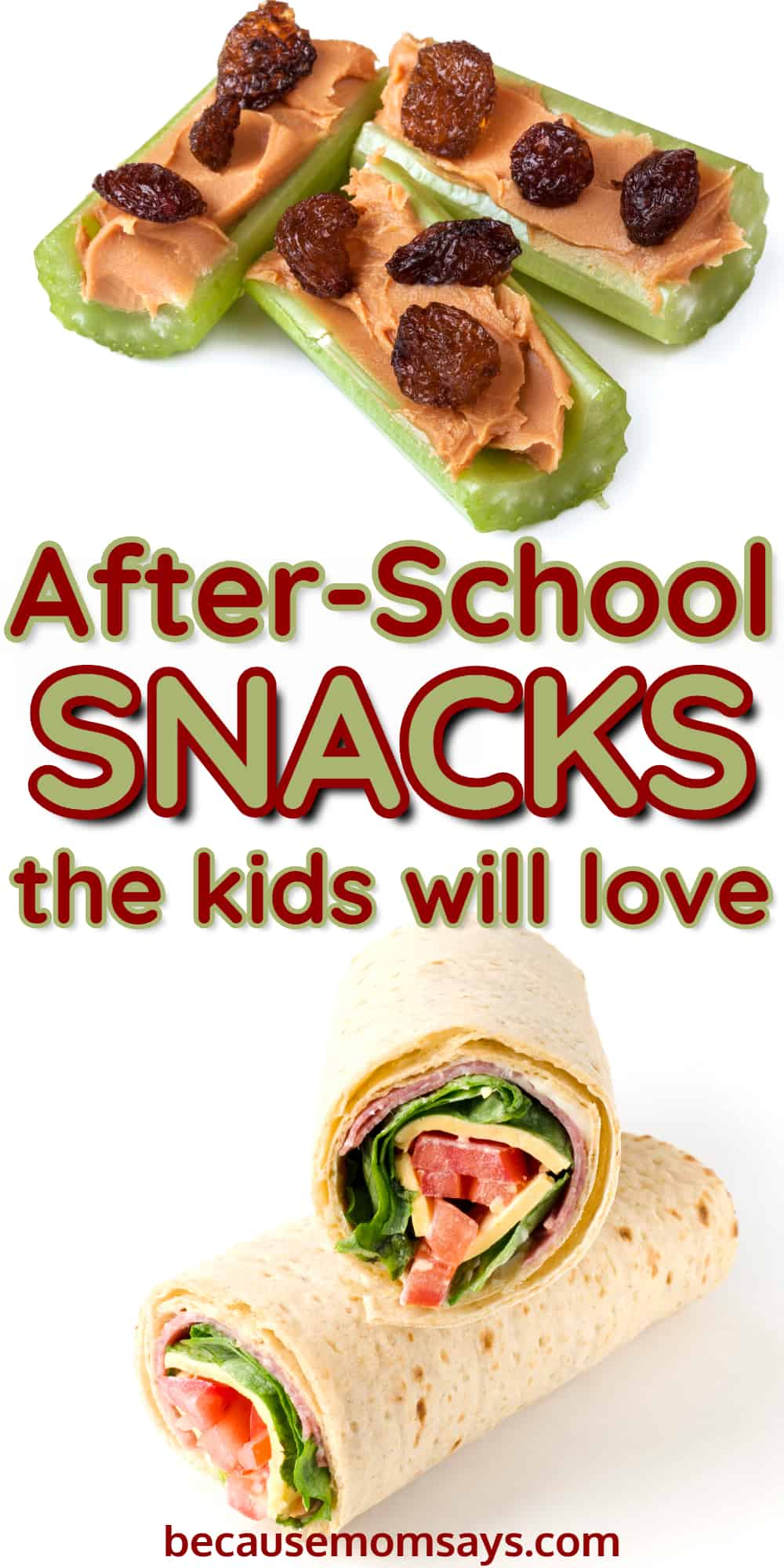 easy after school snacks for kids on a white background