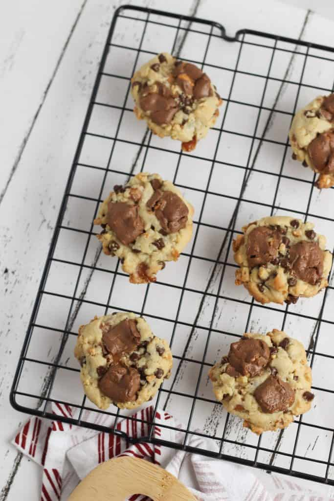 Snickers Cookies on cooling rack