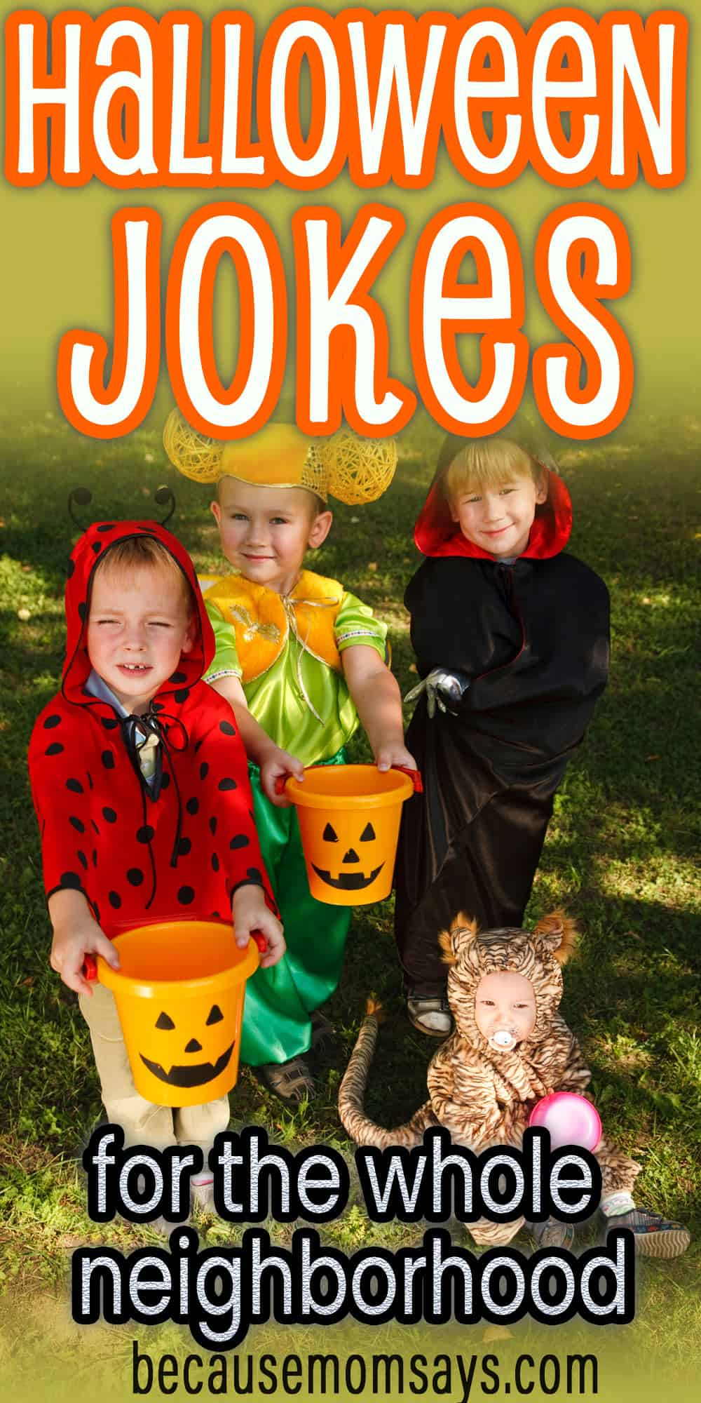 funny halloween jokes - kids in costume trick or treating
