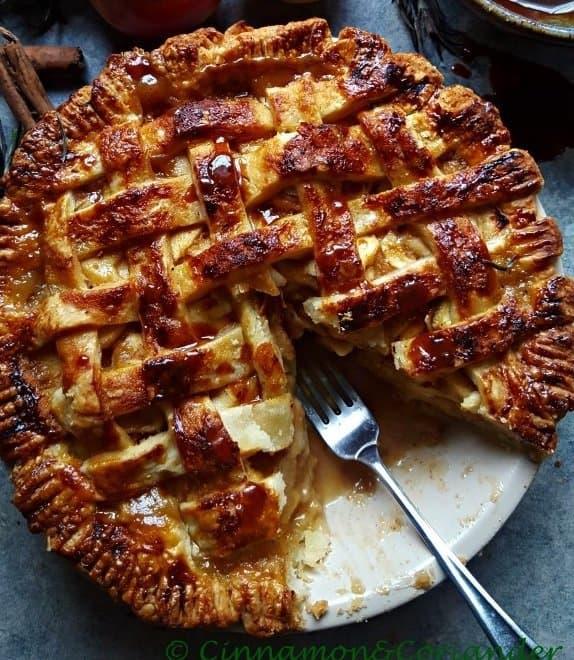 Salted Rosemary Caramel Apple Pie