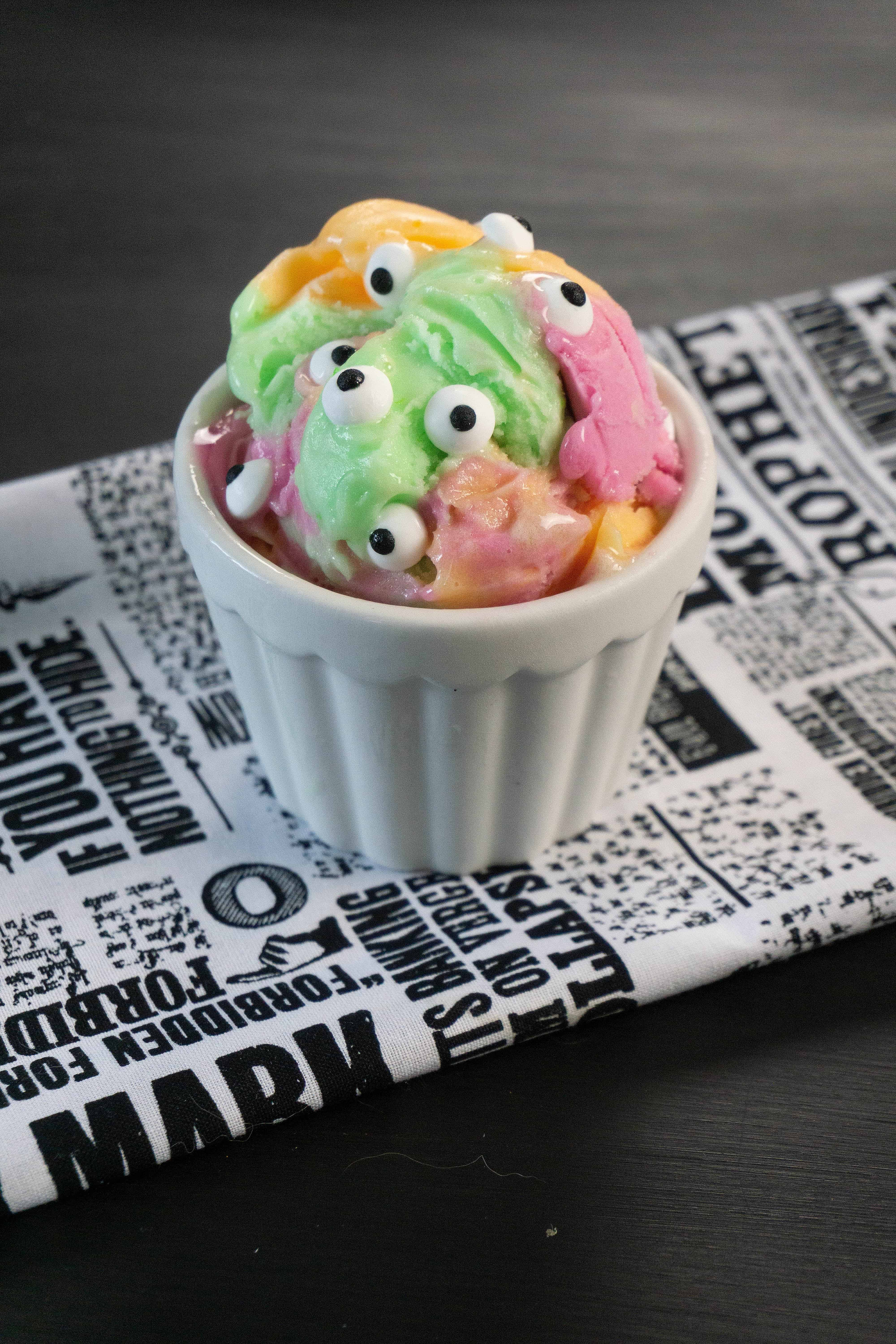 Monster ice cream - ice cream in dish with sprinkles