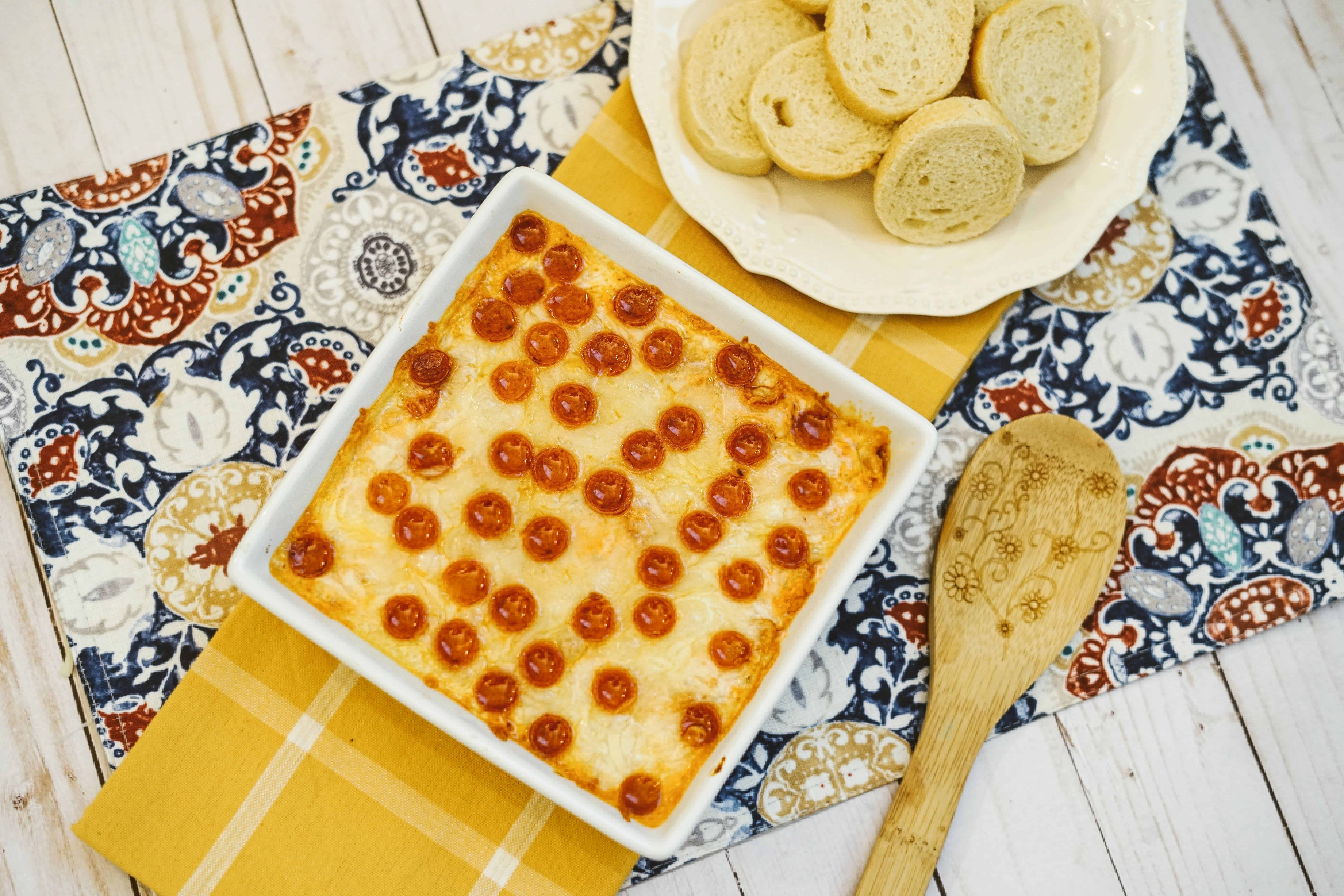 pizza dip prepared on table