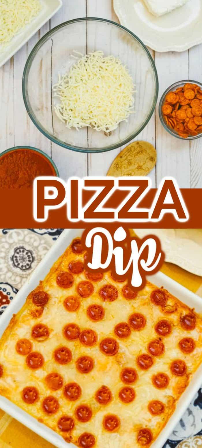 Pizza dip in white dish