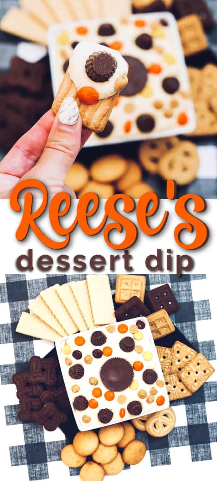 Delicious peanut butter dip made with Reese's candy! This recipe is a fast and easy dessert dip to make for any occasion! #dessert #Reeses #dips #dessertdips #dessertrecipe #peanutbutterdip