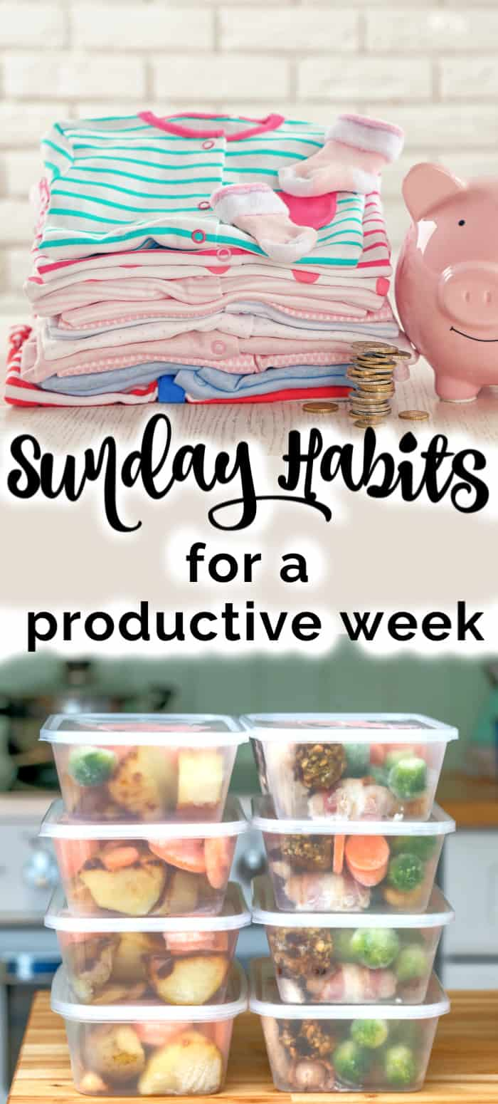 Sunday habits for a productive week with clothes laid out and meals prepped.
