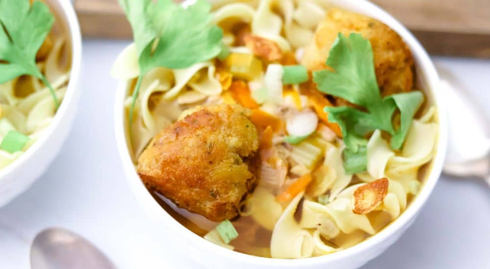 homemade chicken noodle soup in bowl
