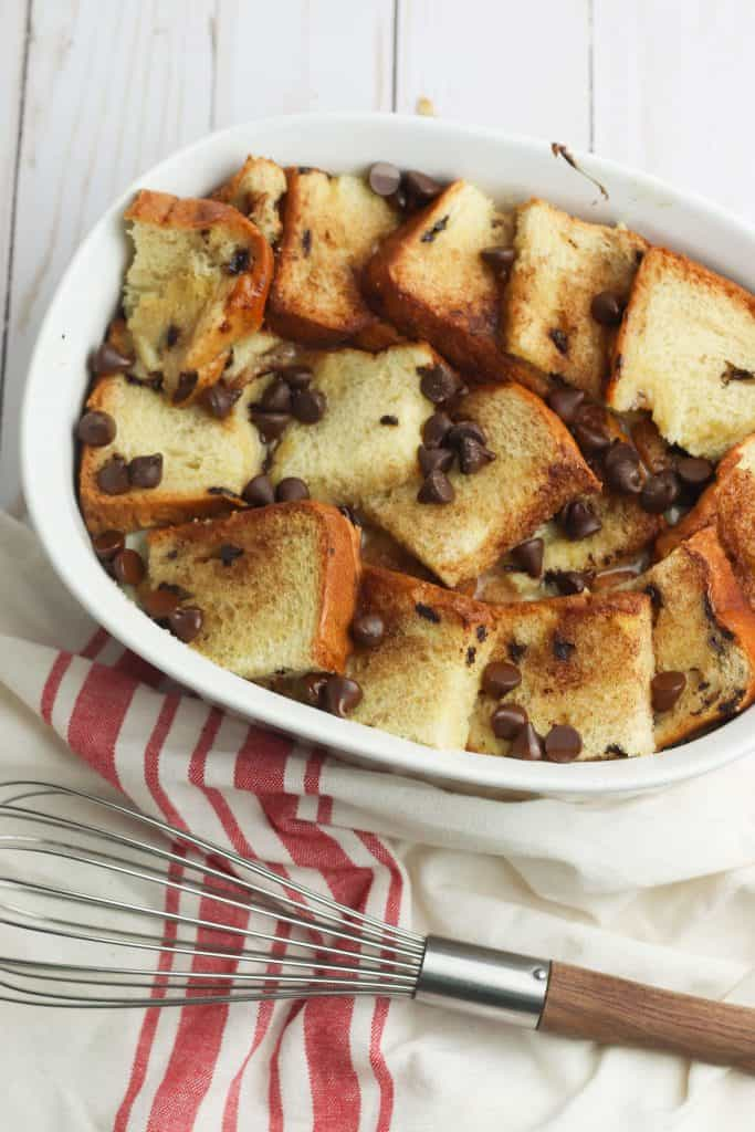 French Toast Bake in white casserole dish