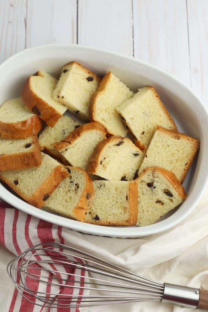 French Toast Bake Preparation in white dish