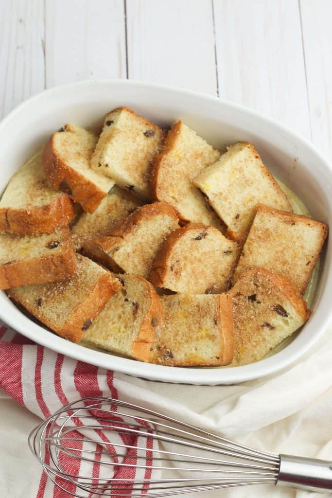 French toast bake in white dish