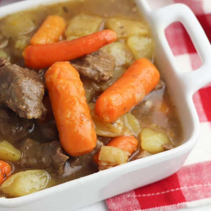 Instant Pot Beef Stew in White Dish
