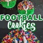 Decorated football sugar cookies on display