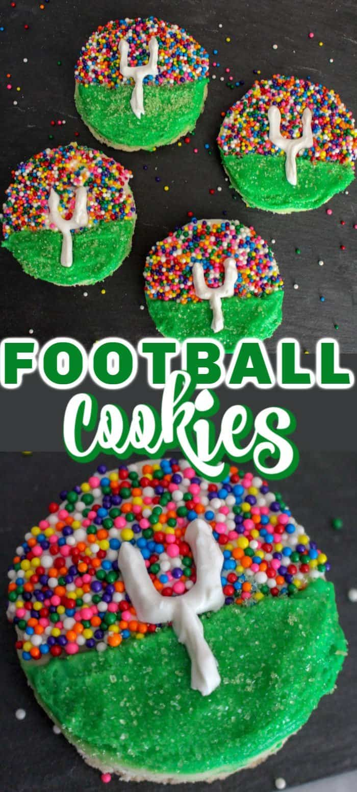Decorated football sugar cookies on display