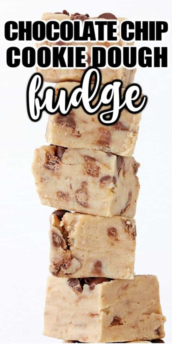 Cookie Dough Fudge is a cross between chocolate chip cookie dough and delicious fudge! This no bake dessert is easy to make and will please a crowd. #becausemomsays #fudge #cookiedough #dessert #nobake #chocolatechips