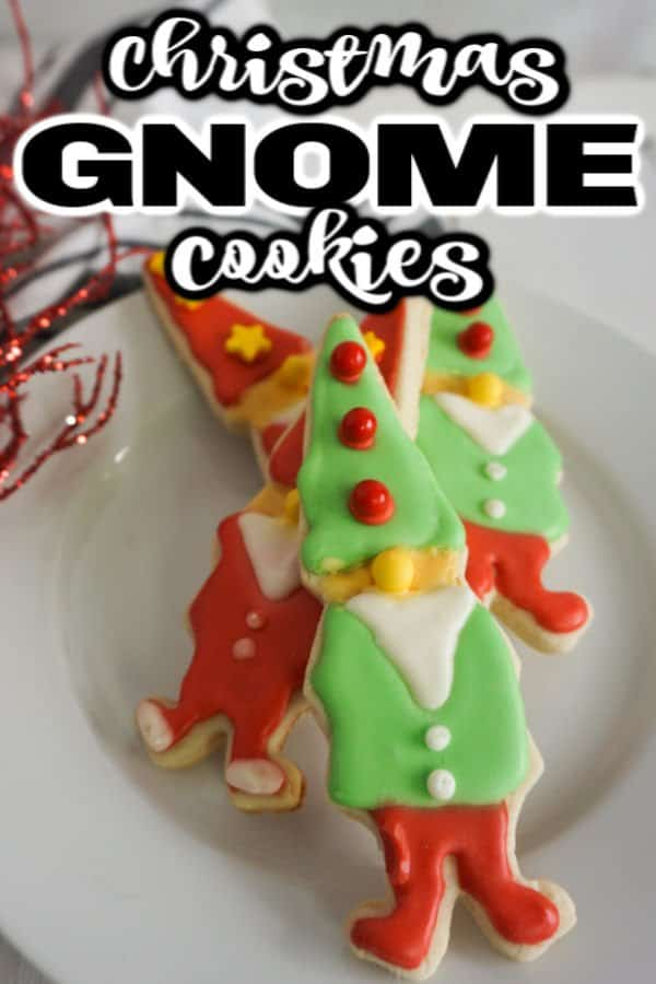 Decorate gnome sugar cookies on white plate