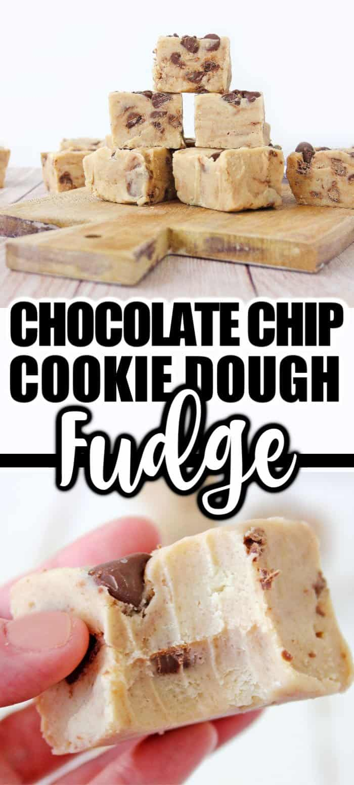 Cookie dough fudge squares displayed on cutting board with marketing text