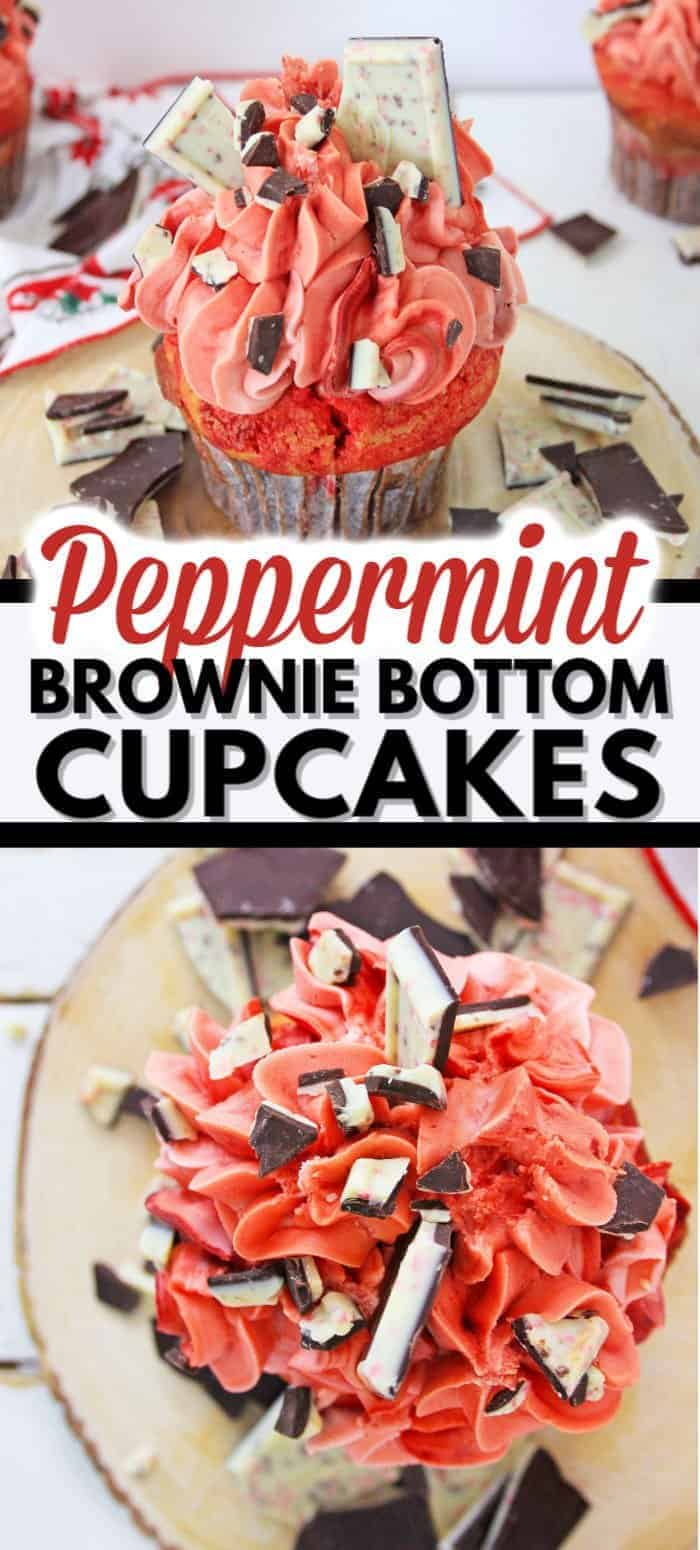 These brownie cupcakes with the added tastiness of peppermint bark will be a hit this holiday season! The perfect peppermint cupcakes for the holiday season! #christmascupcakes #peppermintcupcakes #christmasdesserts #browniecupcakes