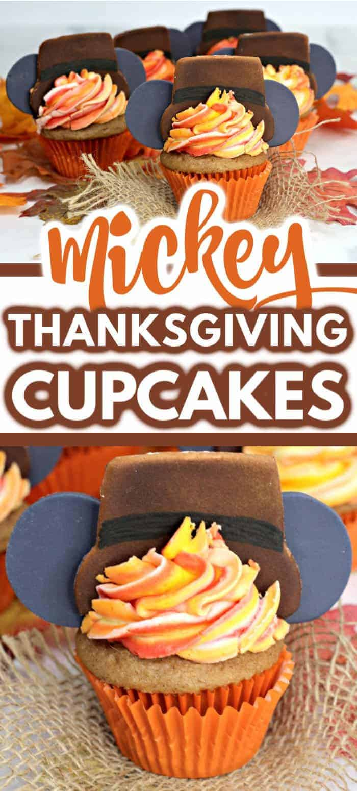 These Thanksgiving Cupcakes are the perfect treat to please any crowd! This cupcake recipe is so easy and the Mickey ears are the perfect Disney touch! #cupcakes #thanksgiving #thanksgivingdesserts #desserts #recipes