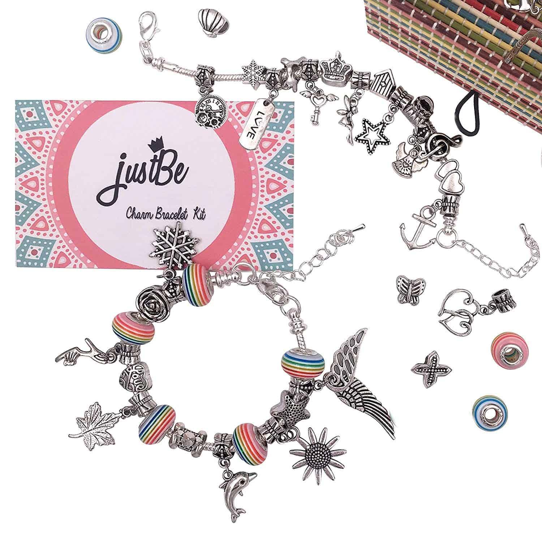 Charm bracelet making kit on table