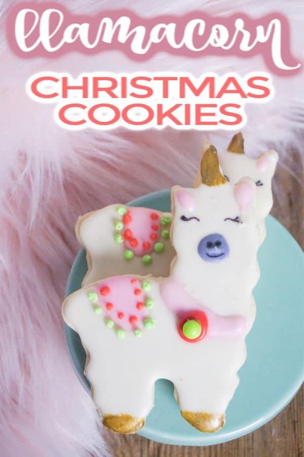 llama cookies on blue plate