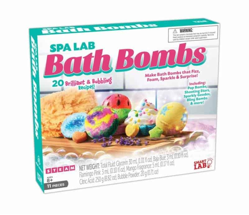 Spa lab bath bombs kit in box on white background