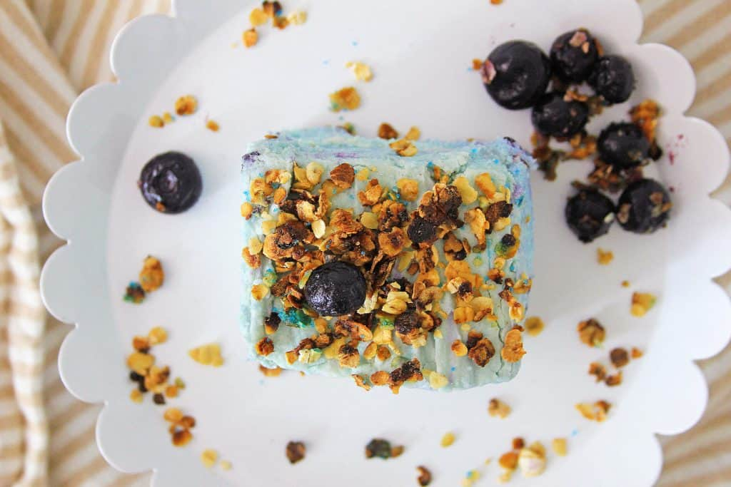 Blueberry fudge overhead view with granola bits on top, on white decorative plate.