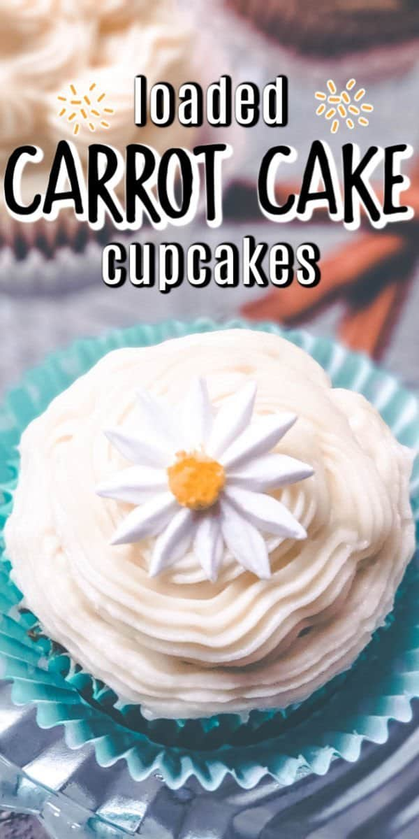 These easy loaded carrot cake cupcakes are the delicious dessert you need! This is the best recipe for moist and tasty carrot cake in a convenient cupcake form! #carrotcake #carrotcupcakes #cupcakes #loadedcupcakes #dessert