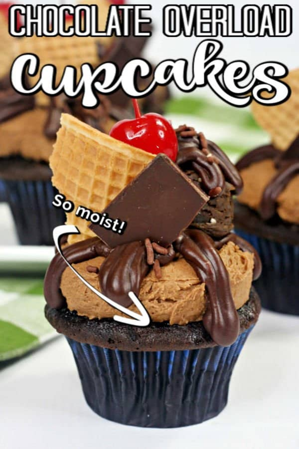 Delicious chocolate cupcakes that look as good as they taste! This easy dessert recipe is the perfect gourmet style treat for chocolate lovers! #chocolate #cupcakes #cupcakerecipe #chocolatecupcakes