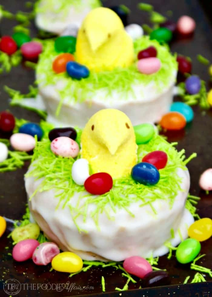 Peeps Lemon Donuts Perched in Easter Nests | Homemade Baked Recipe