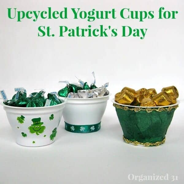 Upcycled Yogurt Cups for St. Patrick's Day Treats