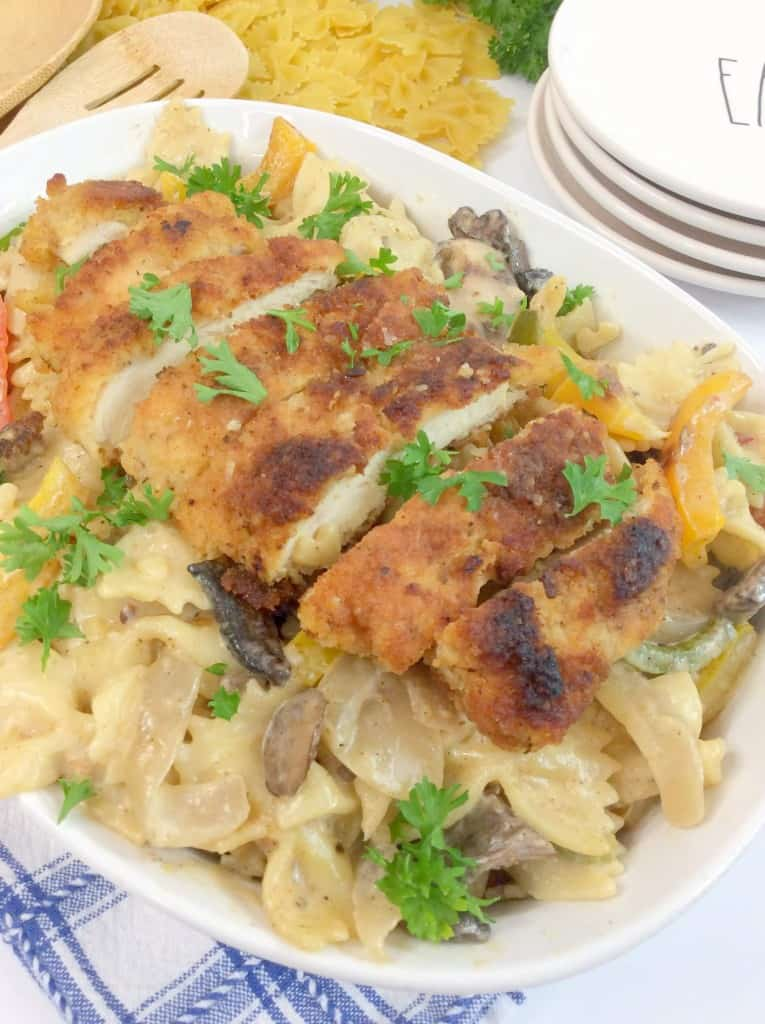 Cajun creamy chicken pasta in dish for display photo