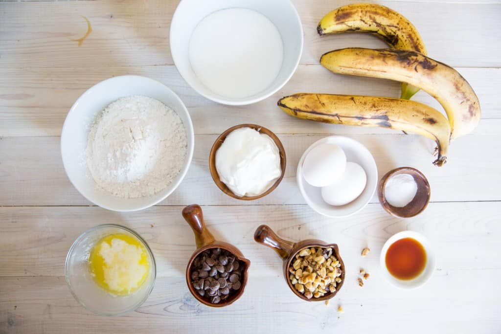 Ingredients for banana chocolate chip bread on counter top