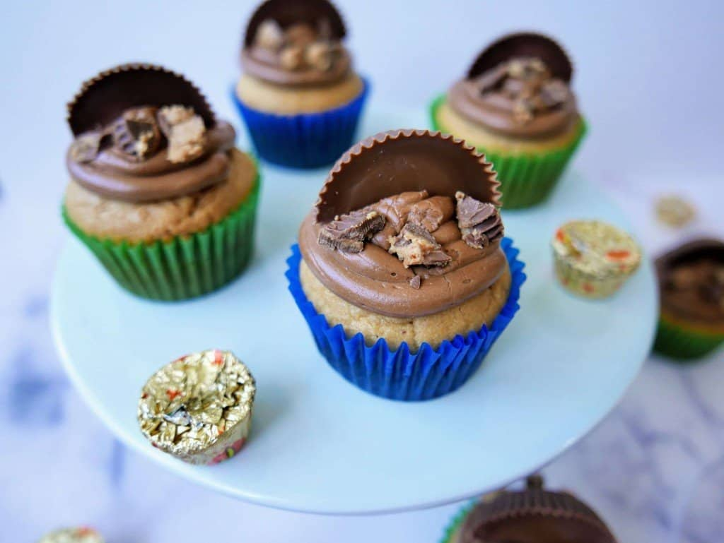 Nutella Cupcakes with Reese's Peanut butter cups on display.