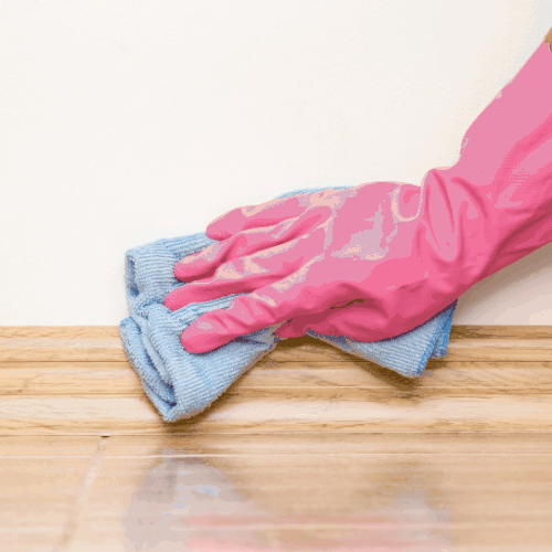 CLEAN BASEBOARD WITH CLOTH